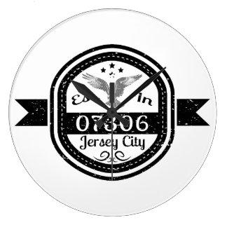 Established In 07306 Jersey City Large Clock