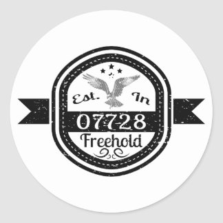 Established In 07728 Freehold Classic Round Sticker