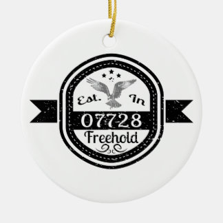 Established In 07728 Freehold Round Ceramic Ornament