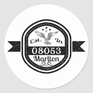 Established In 08053 Marlton Classic Round Sticker