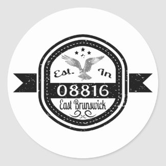 Established In 08816 East Brunswick Classic Round Sticker