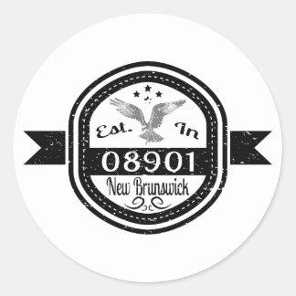 Established In 08901 New Brunswick Classic Round Sticker