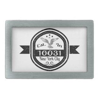 Established In 10031 New York City Rectangular Belt Buckles