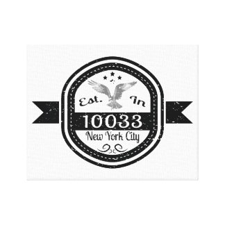 Established In 10033 New York City Canvas Print