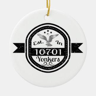 Established In 10701 Yonkers Ceramic Ornament