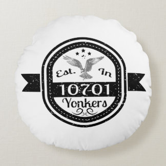 Established In 10701 Yonkers Round Pillow