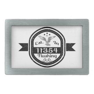 Established In 11354 Flushing Rectangular Belt Buckles