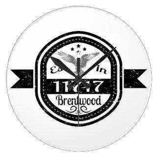 Established In 11717 Brentwood Large Clock
