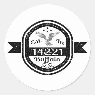 Established In 14221 Buffalo Classic Round Sticker