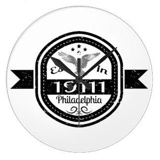 Established In 19111 Philadelphia Large Clock