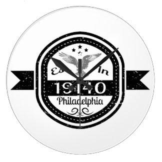 Established In 19140 Philadelphia Large Clock