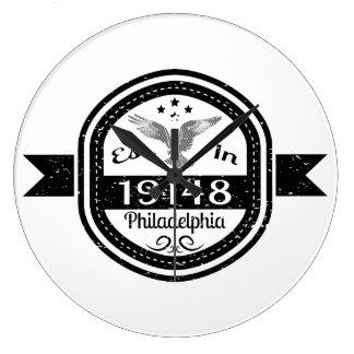 Established In 19148 Philadelphia Large Clock