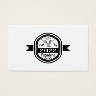 Established In 21122 Pasadena Business Card