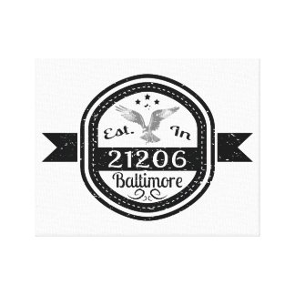 Established In 21206 Baltimore Canvas Print