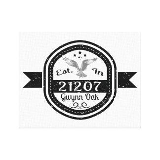 Established In 21207 Gwynn Oak Canvas Print