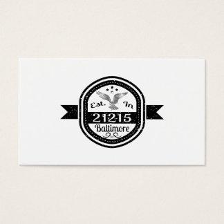 Established In 21215 Baltimore Business Card