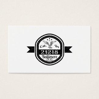 Established In 21218 Baltimore Business Card