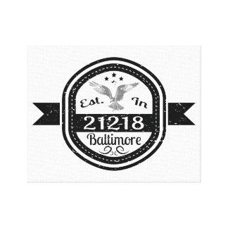 Established In 21218 Baltimore Canvas Print