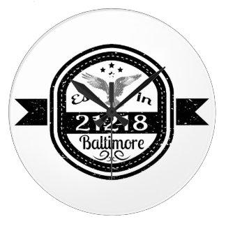 Established In 21218 Baltimore Large Clock
