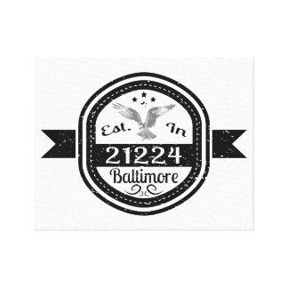 Established In 21224 Baltimore Canvas Print