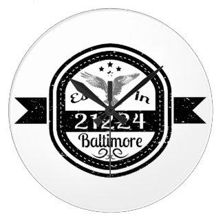 Established In 21224 Baltimore Large Clock