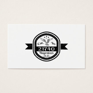 Established In 21740 Hagerstown Business Card