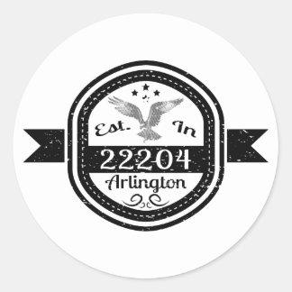 Established In 22204 Arlington Classic Round Sticker