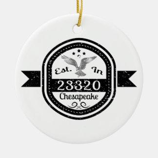 Established In 23320 Chesapeake Ceramic Ornament