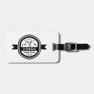Established In 23456 Virginia Beach Luggage Tag