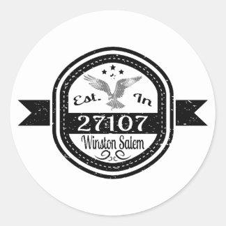 Established In 27107 Winston Salem Classic Round Sticker