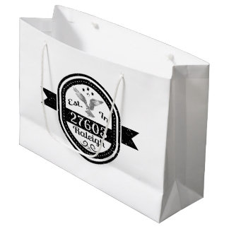 Established In 27603 Raleigh Large Gift Bag