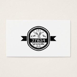 Established In 27834 Greenville Business Card