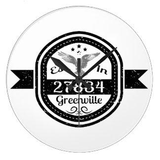 Established In 27834 Greenville Large Clock