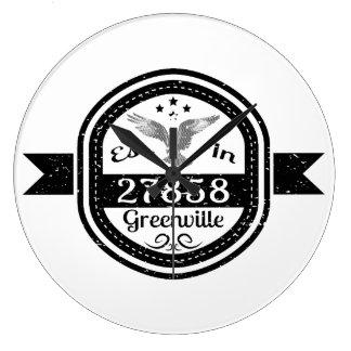 Established In 27858 Greenville Large Clock