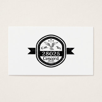Established In 28025 Concord Business Card