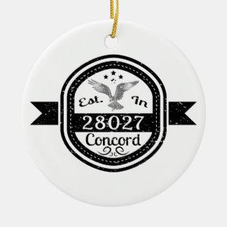 Established In 28027 Concord Ceramic Ornament