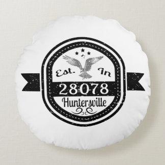 Established In 28078 Huntersville Round Pillow
