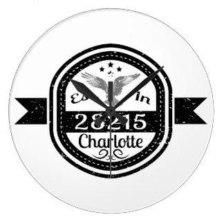 Established In 28215 Charlotte Large Clock