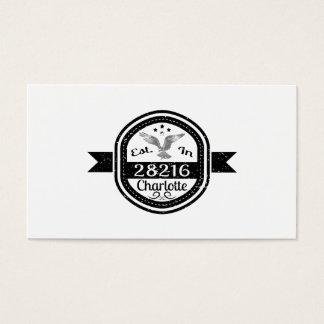 Established In 28216 Charlotte Business Card