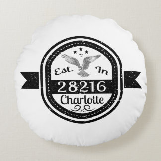 Established In 28216 Charlotte Round Pillow