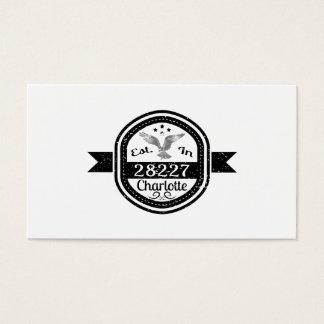 Established In 28227 Charlotte Business Card