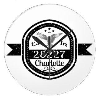 Established In 28227 Charlotte Large Clock