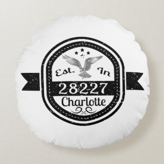 Established In 28227 Charlotte Round Pillow