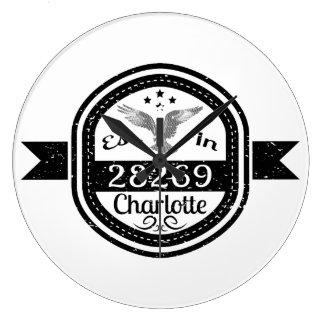 Established In 28269 Charlotte Large Clock
