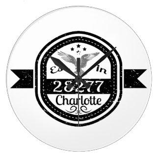 Established In 28277 Charlotte Large Clock