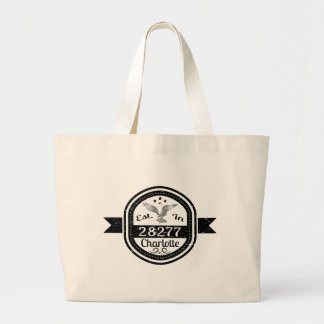 Established In 28277 Charlotte Large Tote Bag