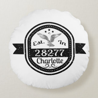 Established In 28277 Charlotte Round Pillow