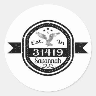 Established In 31419 Savannah Classic Round Sticker
