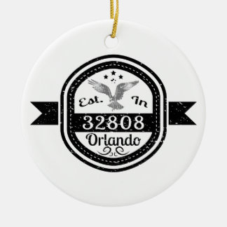 Established In 32808 Orlando Ceramic Ornament