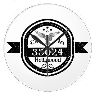 Established In 33024 Hollywood Large Clock